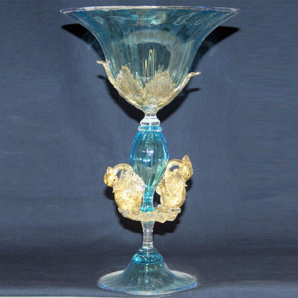 """""""Coppa del Re"""" vaso en cristal de Murano - azul"""