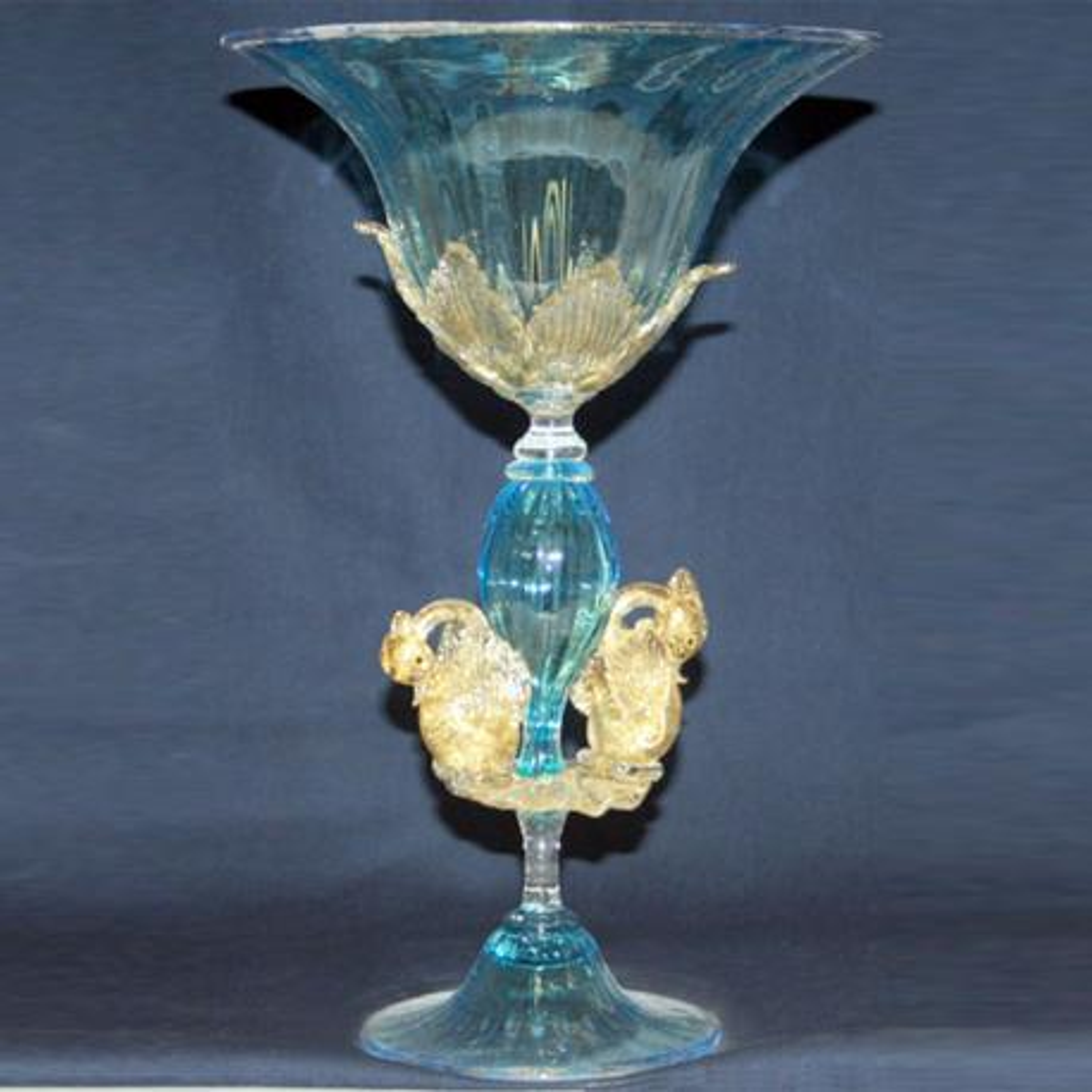 """Coppa del Re"" verre en cristal de Murano - bleu"