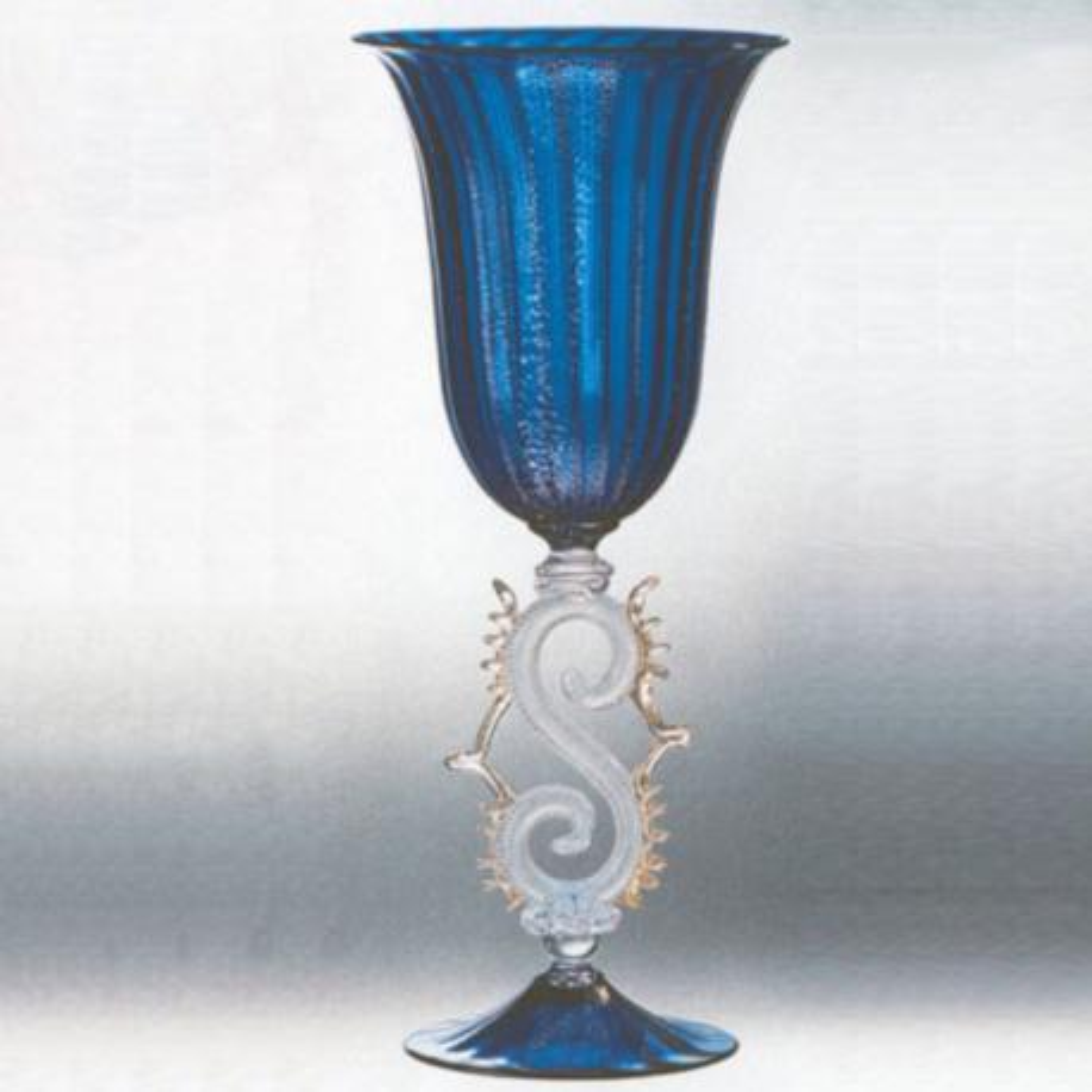 """""""Mordace"""" vaso en cristal de Murano - azul"""