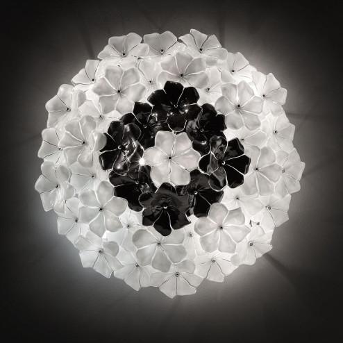 """Loto"" Murano glass ceiling light - white and black"