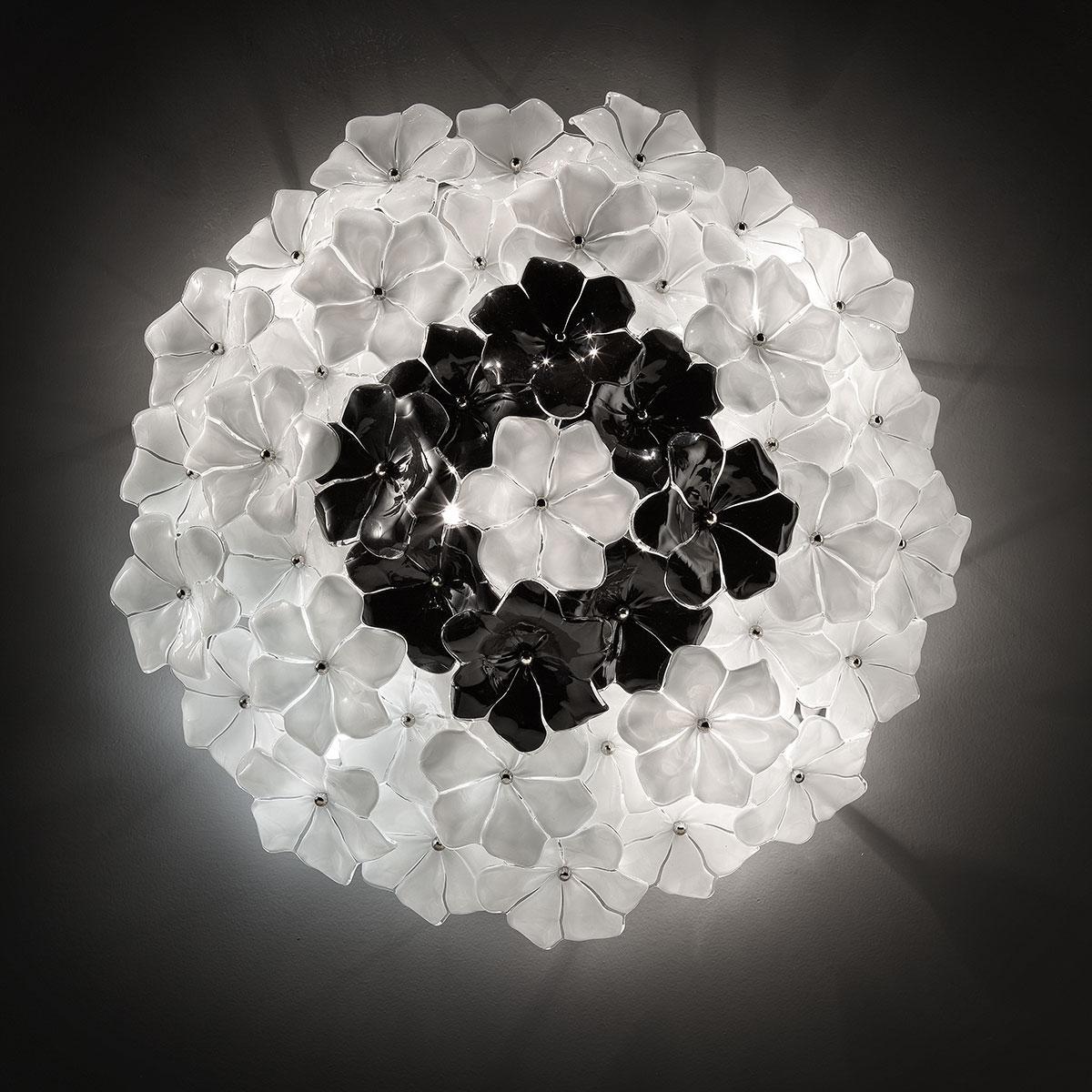 """""""Loto"""" lampara de techo de Murano - blanco y negro"""