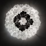 """Loto"" Murano glass ceiling light - white and black"
