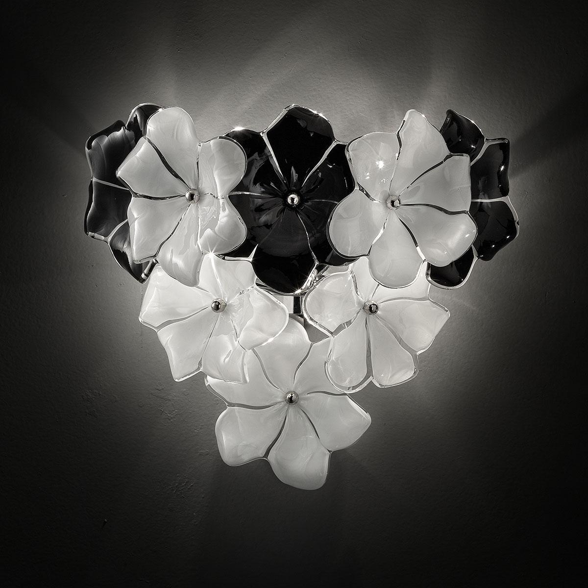 """Loto"" applique en verre de Murano - blanc et noir"
