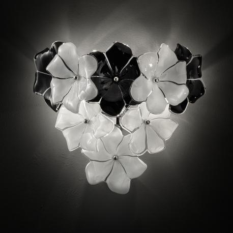 """Loto"" Murano glass sconce - white and black"
