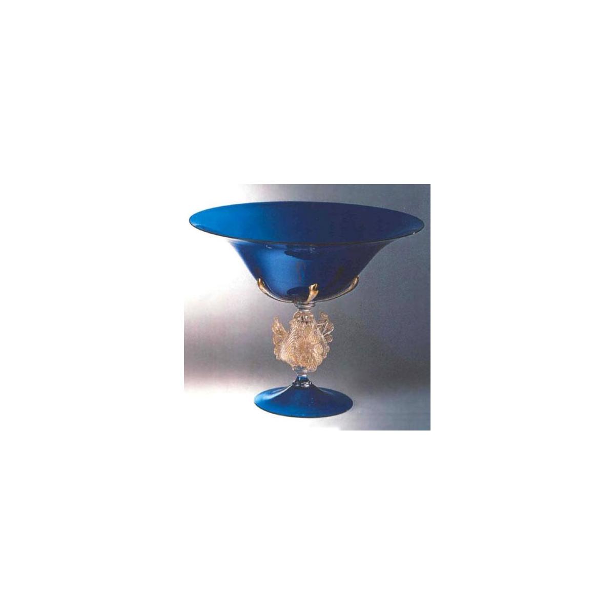 """""""Corneo"""" bol sur le pied en verre de Murano - bleu"""
