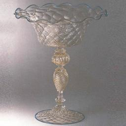 """Talismano"" Murano glass fruitstand - pink with gold details"