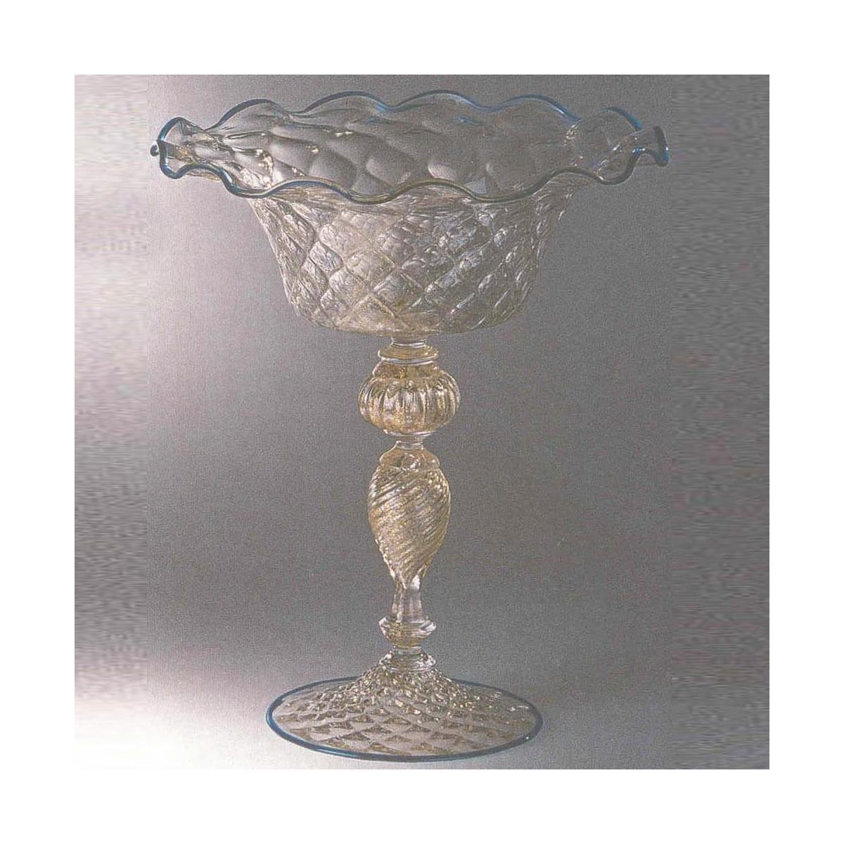 """""""Talismano"""" tazón de fruta de Murano - rosa con detalles de oro"""