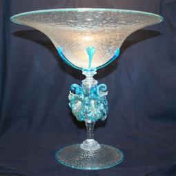 """Celestina"" Murano glass fruitstand - light blue"