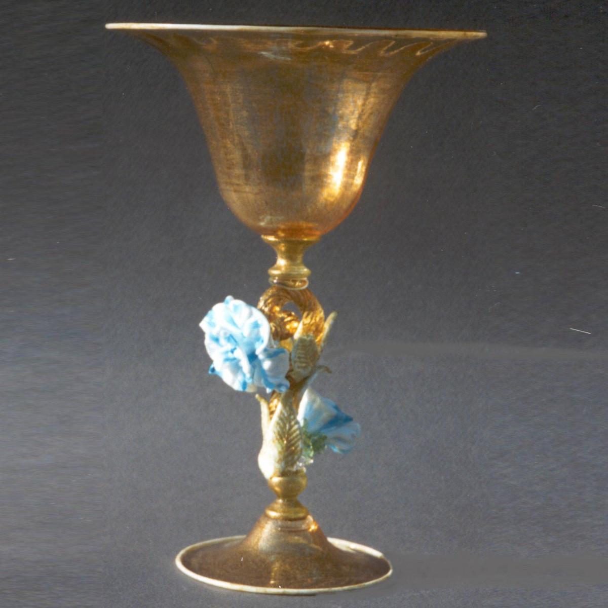 """""""Fiore Azzurro"""" tazón de fruta de Murano - oro con la flor azul claro"""
