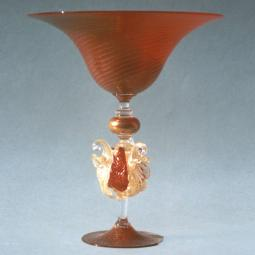 """Ornato"" Murano glass fruitstand - red with gold details"