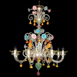 Tripudio 8 lights Murano glass chandelier