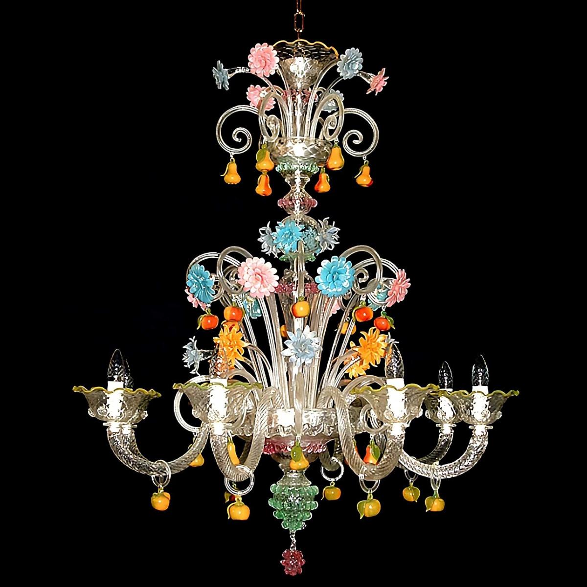 Tripudio 8 lumières lustre en verre de Murano