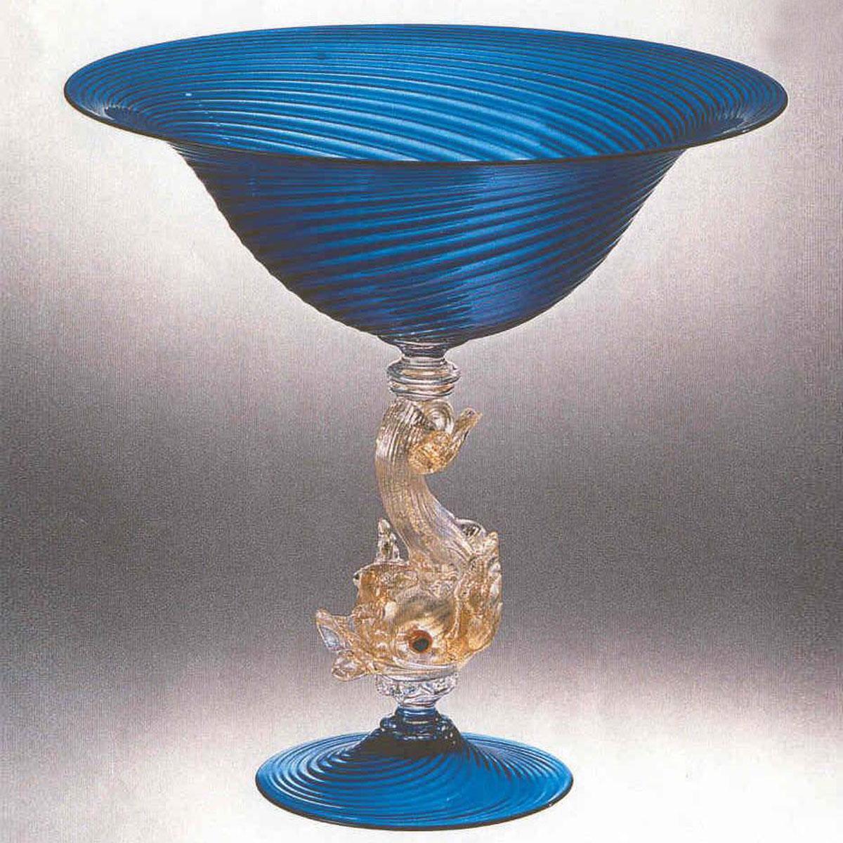 """""""Delfino"""" bol sur le pied en verre de Murano - bleu"""