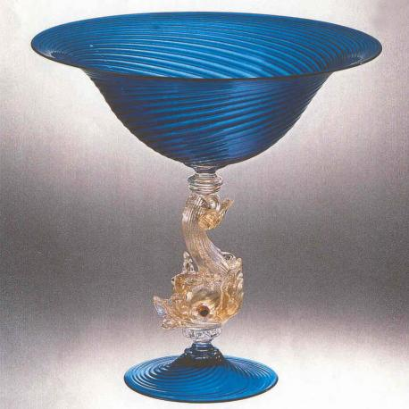 """Delfino"" Murano glass fruitstand - blue"