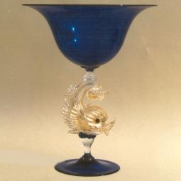 """Delfini"" Murano glass fruitstand - blue"