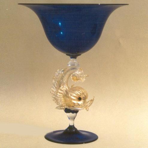 """Delfini"" tazón de fruta de Murano - azul"