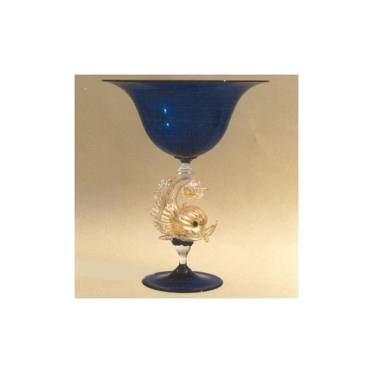 """Delfini"" Murano glass fruitstand - blue"