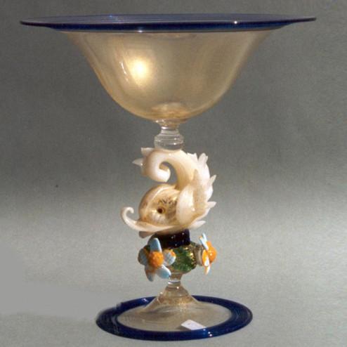 """""""Delfino Bianco"""" bol sur le pied en verre de Murano"""