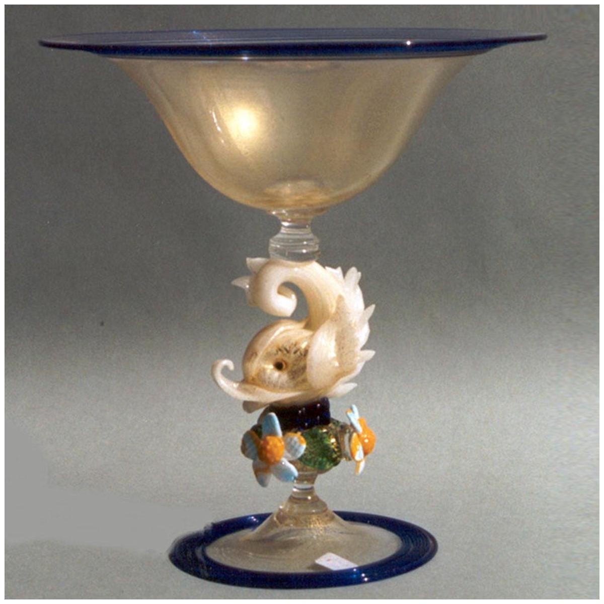 """""""Delfino Bianco"""" bol sur le pied en verre de Murano - or avec des détails en bleu"""