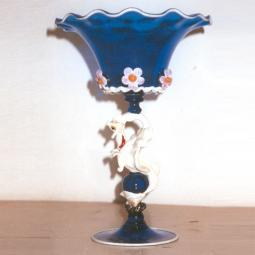 """Drago Bianco"" Murano glass fruitstand - blue"