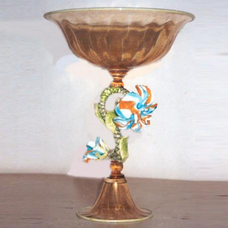 """Arco Celeste"" Murano glass fruitstand - amber with polychrome flower"