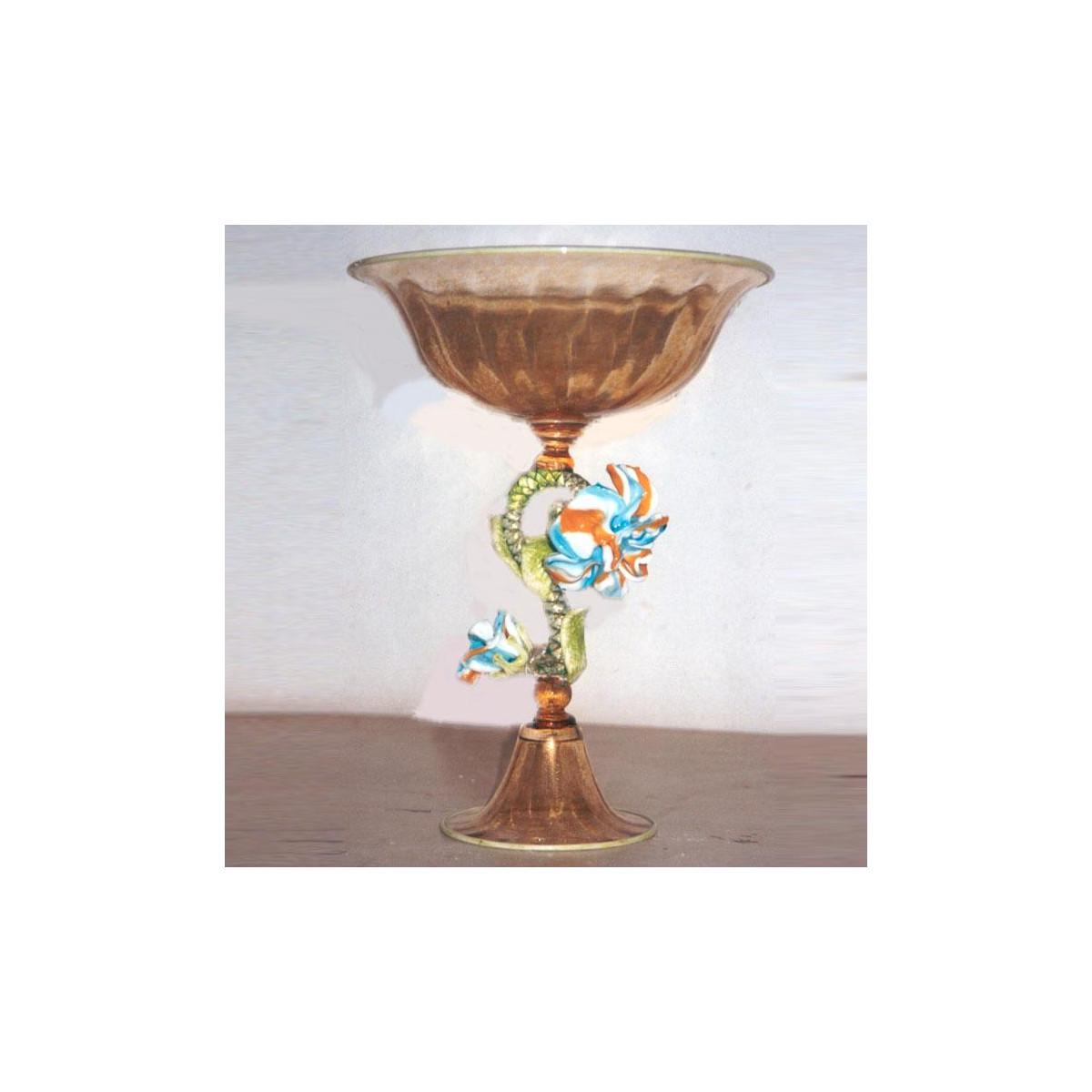 """""""Arco Celeste"""" tazón de fruta de Murano - ambar con flor policromada"""