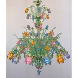 Iris Verde 12 lights Murano glass chandelier