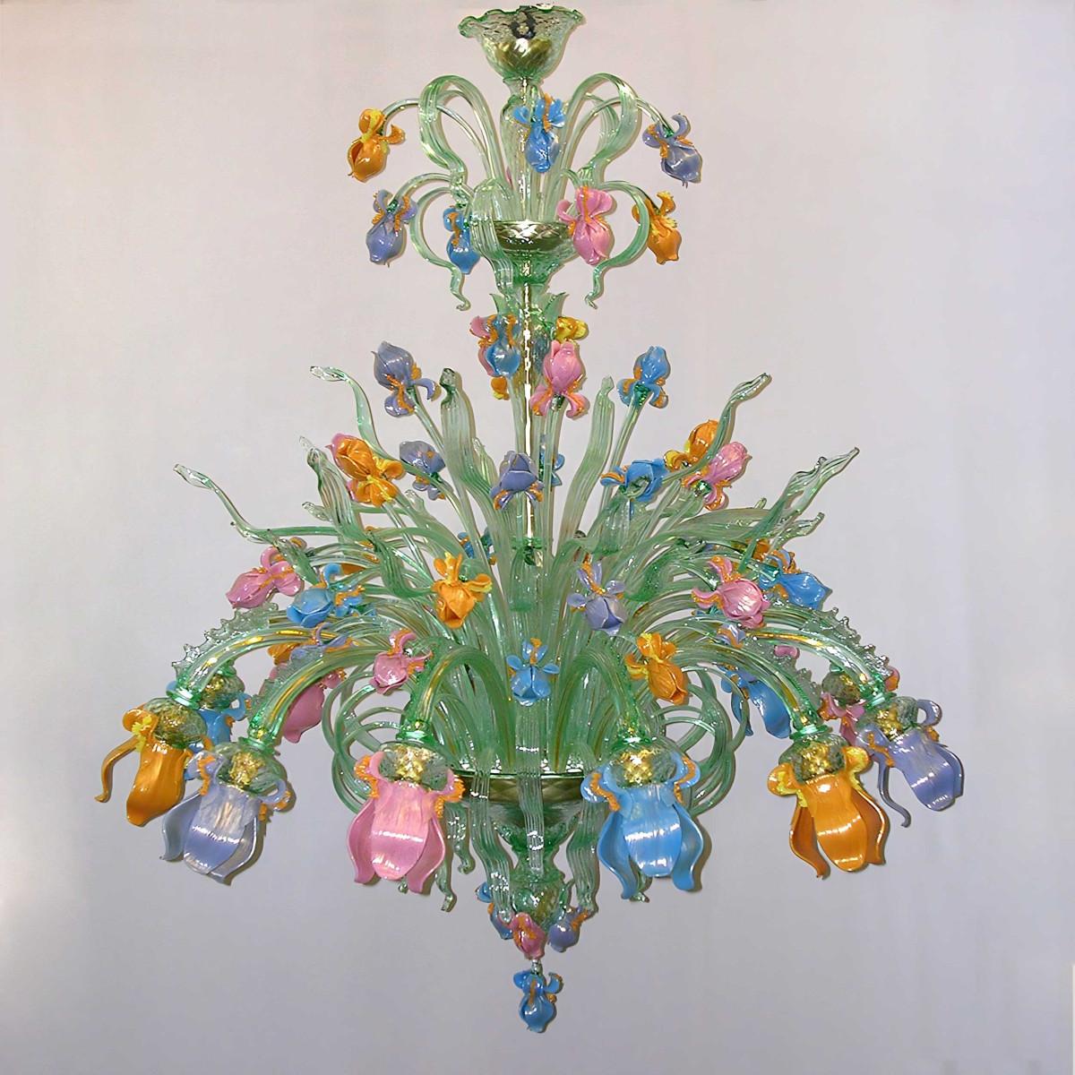 Iris Verde 12 lights Murano glass chandelier
