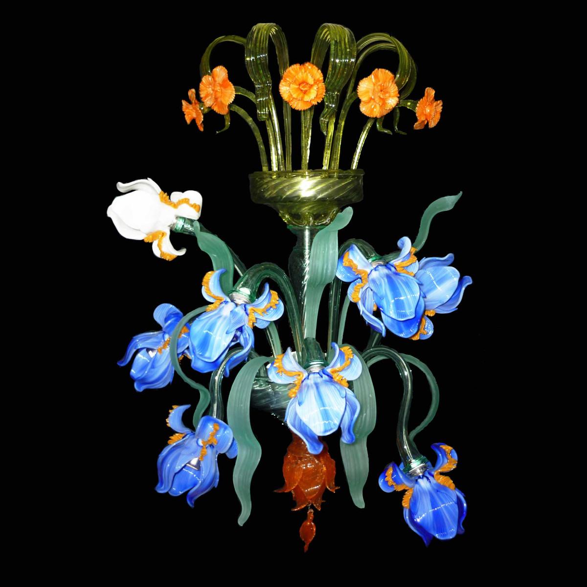 Iris 8 lumières applique en verre de Murano