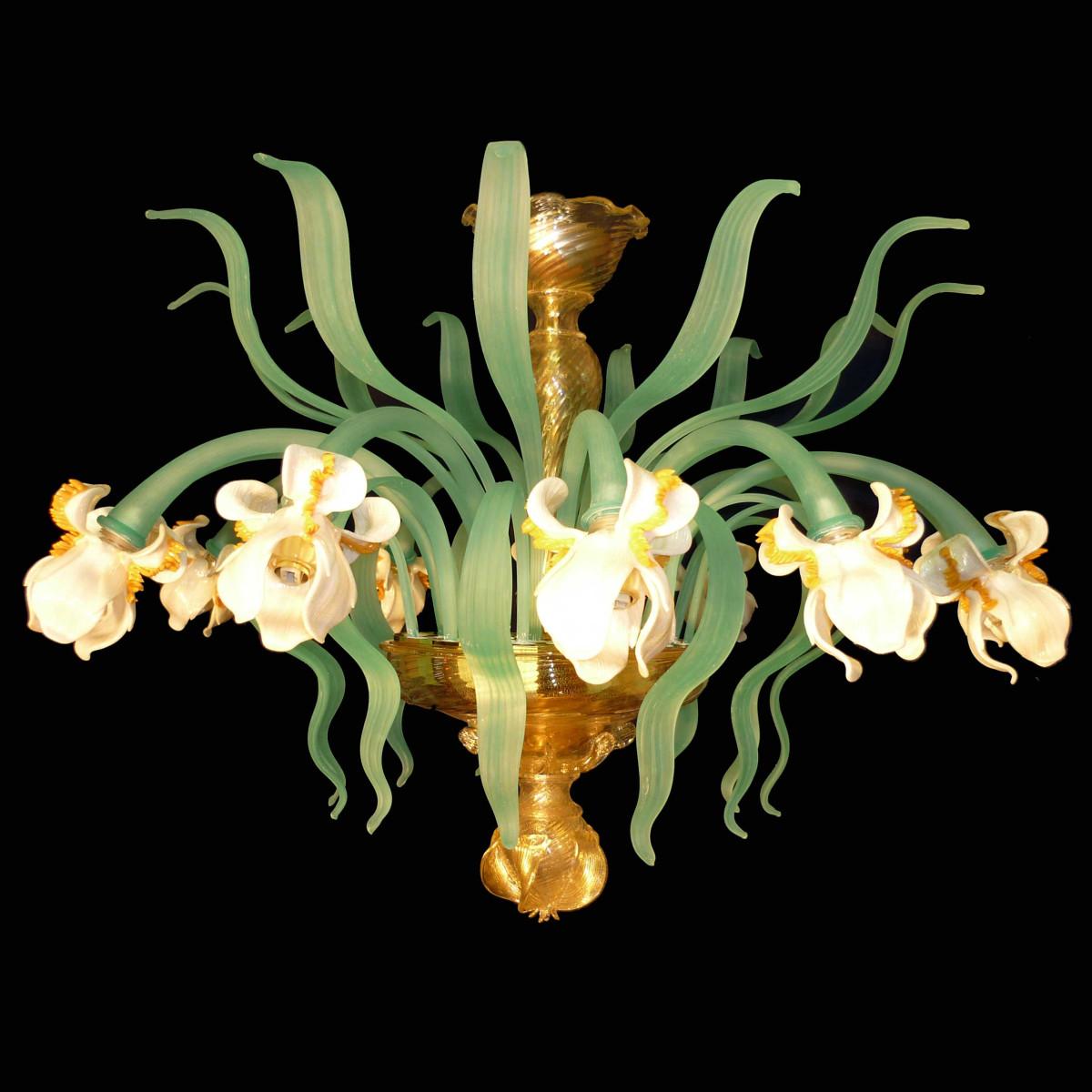 """Iris bianco"" 12 lumières plafonnier en verre de Murano"