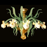 """Iris bianco"" 12 lights Murano glass ceiling lamp"