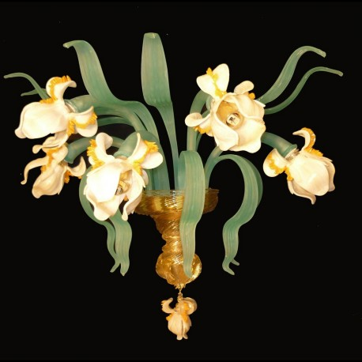 """Iris bianco"" 5 lumières applique en verre de Murano"