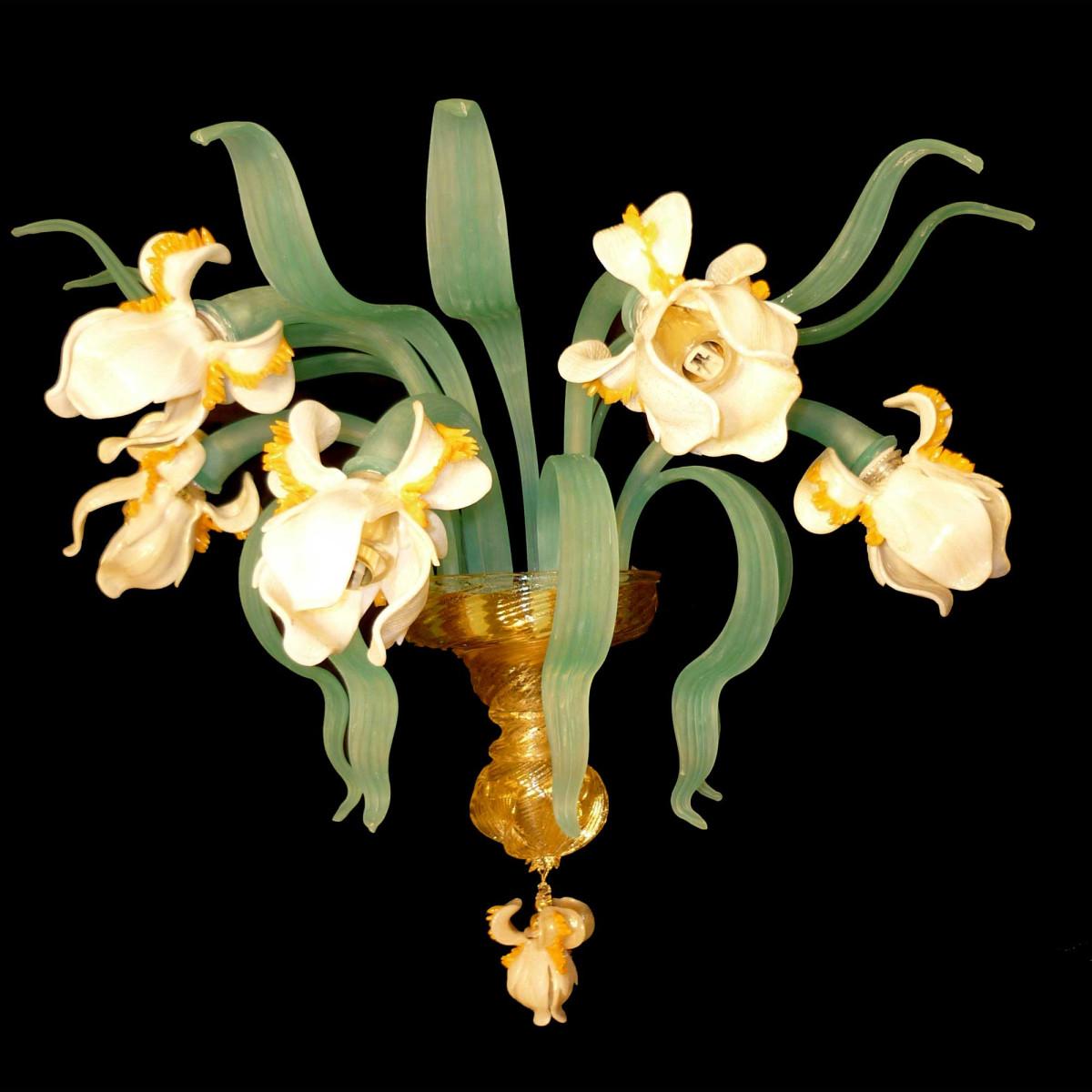 """Iris bianco"" 5 flammig Murano-glas wandleuchte"
