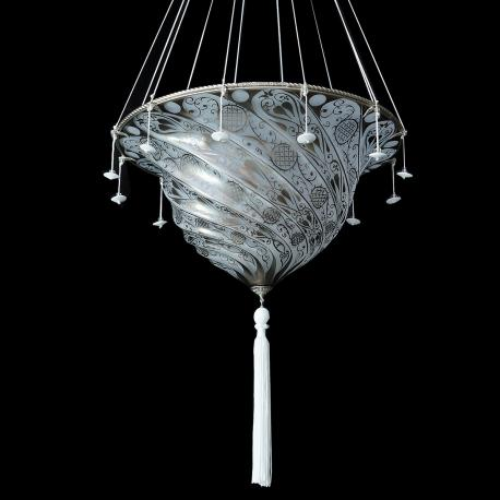 """Gerico "" Murano glass pendant light - 1 light - white"