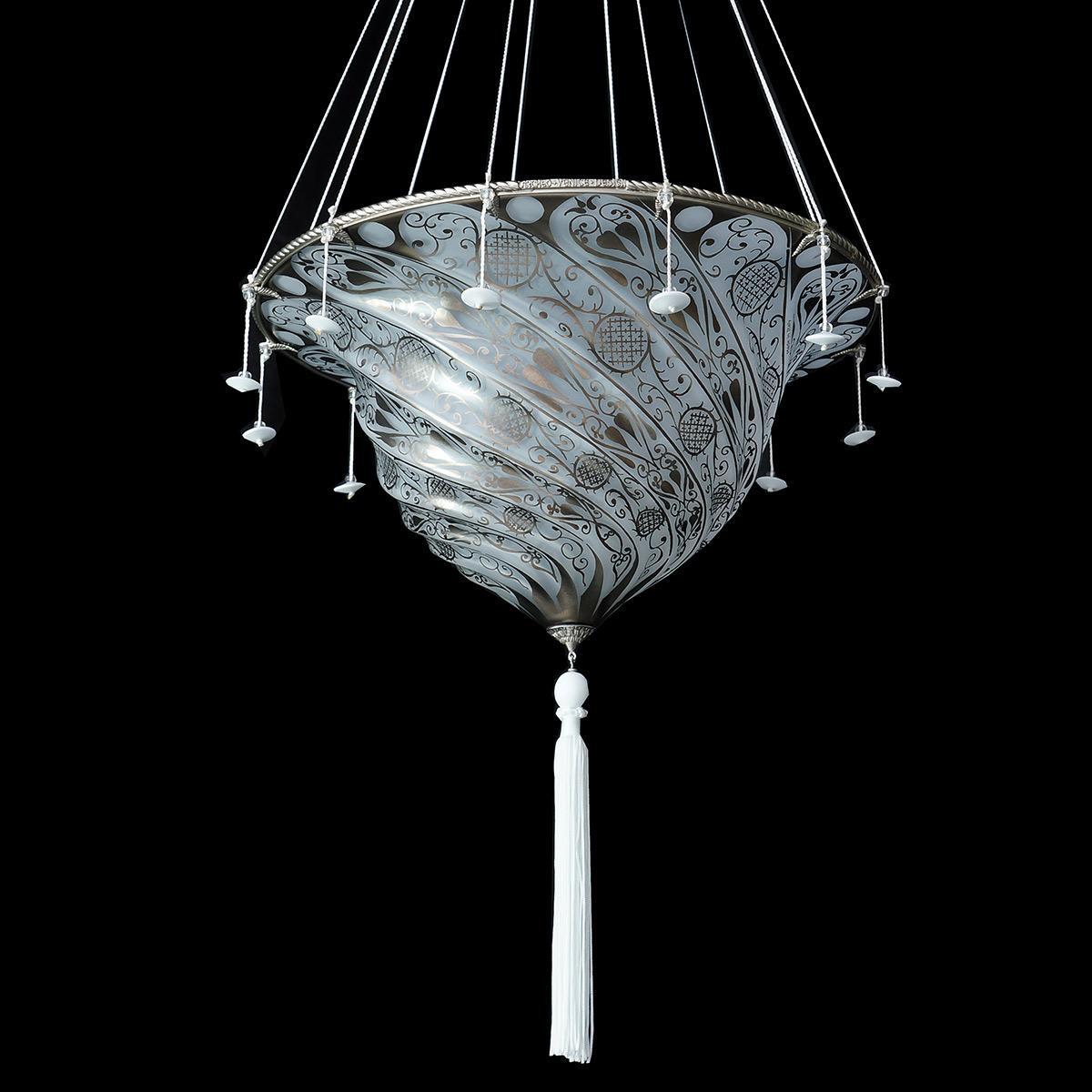 """""""Gerico """" suspension en verre de Murano - 1 lumière - blanc"""