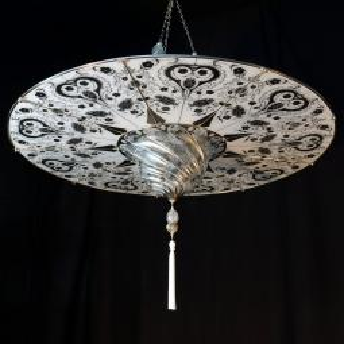 """""""Ankara"""" Murano glas hangeleuchte - 1 flammig - weiß"""