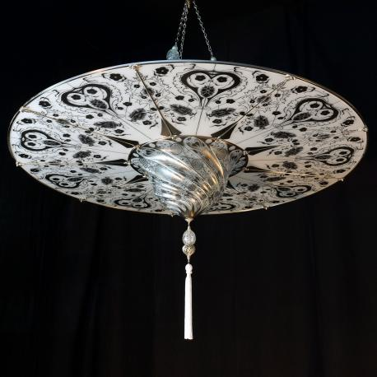 """Ankara"" Murano glass pendant light - 1 light - white"
