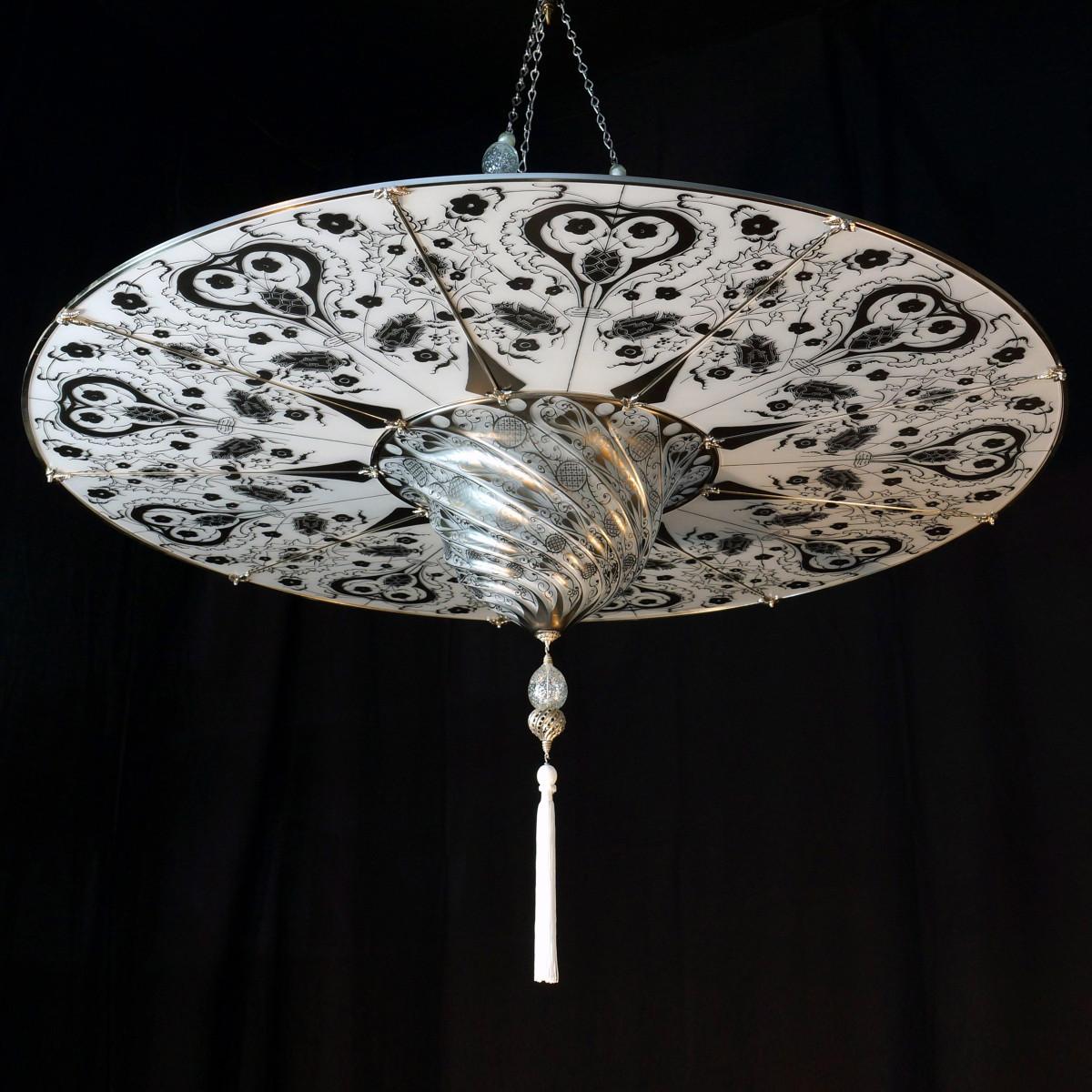 """""""Ankara"""" suspension en verre de Murano - 1 lumière - blanc"""