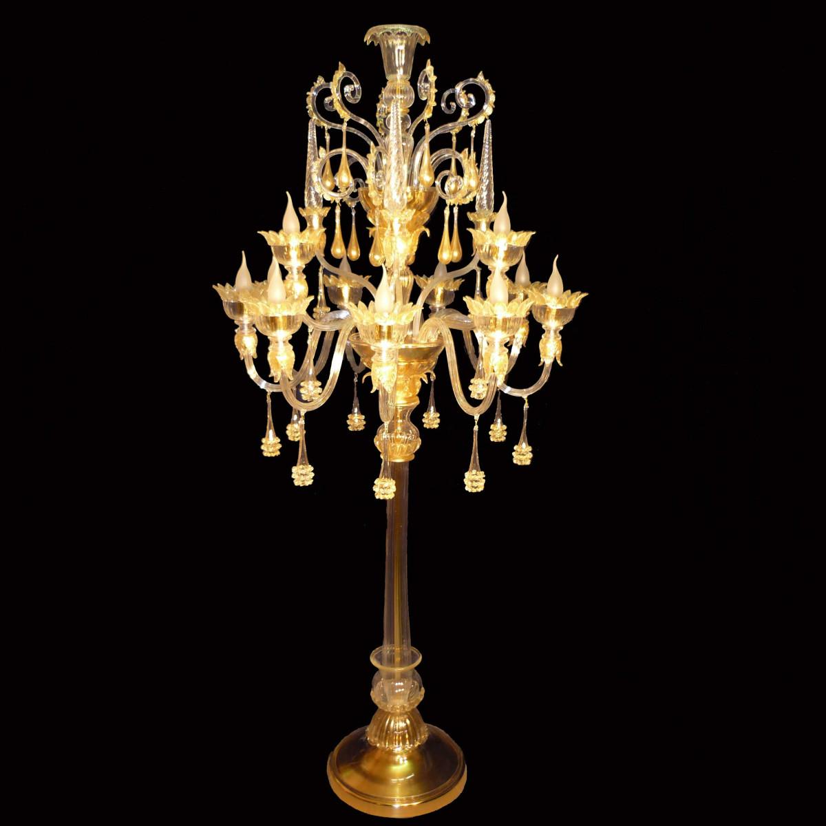 """""""Fiamma"""" 12 lumières lampadaire en verre de Murano"""