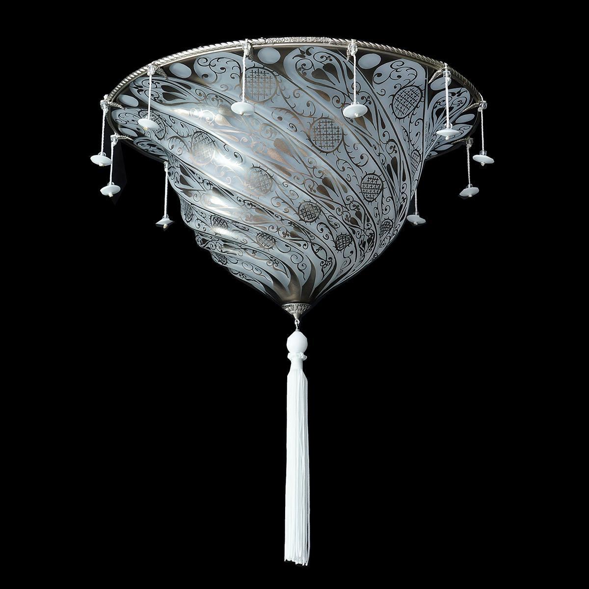 """Gerico"" Murano glass ceiling light - 2 lights - white"