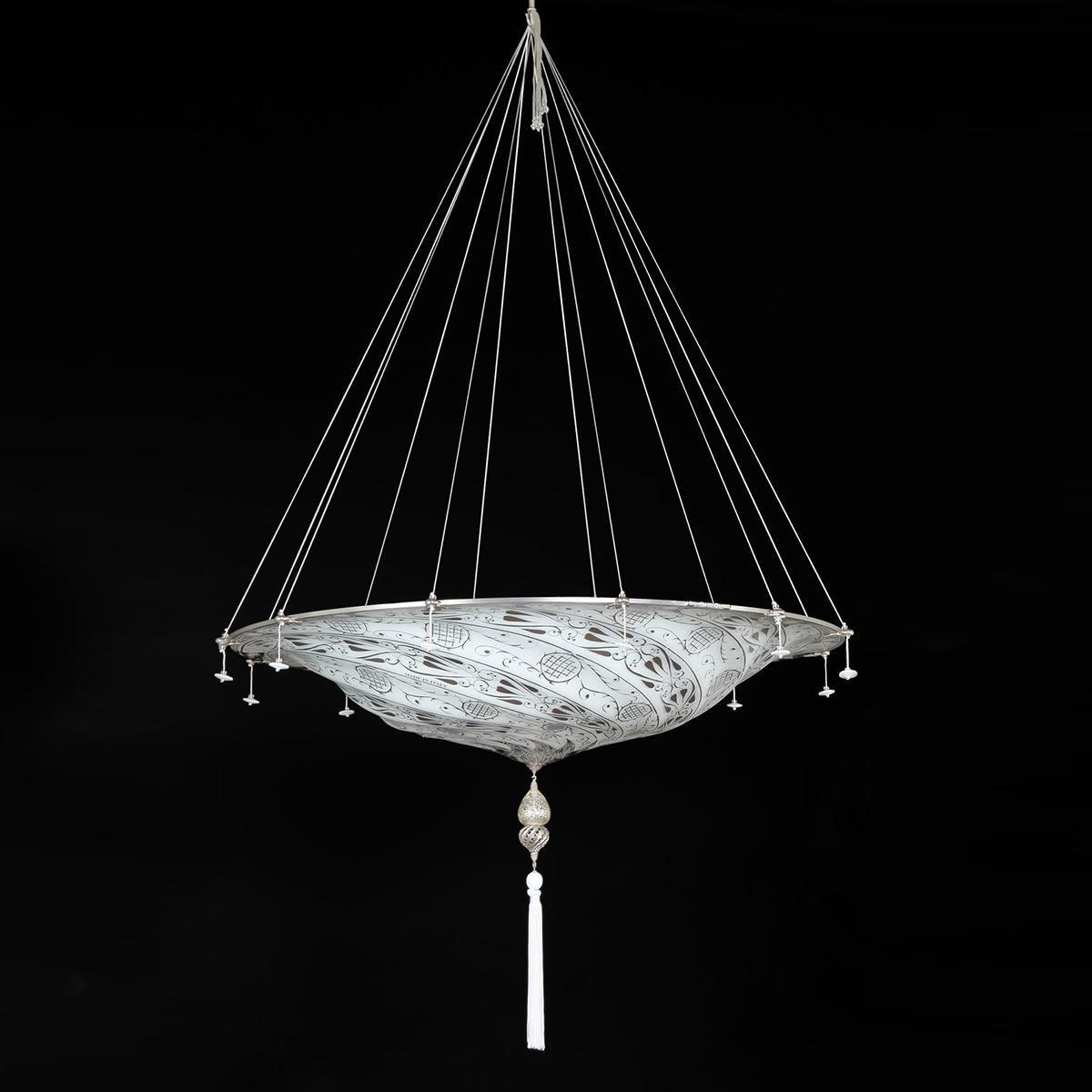 """""""Dubai"""" Murano glas hangeleuchte - 3 flammig - weiß"""