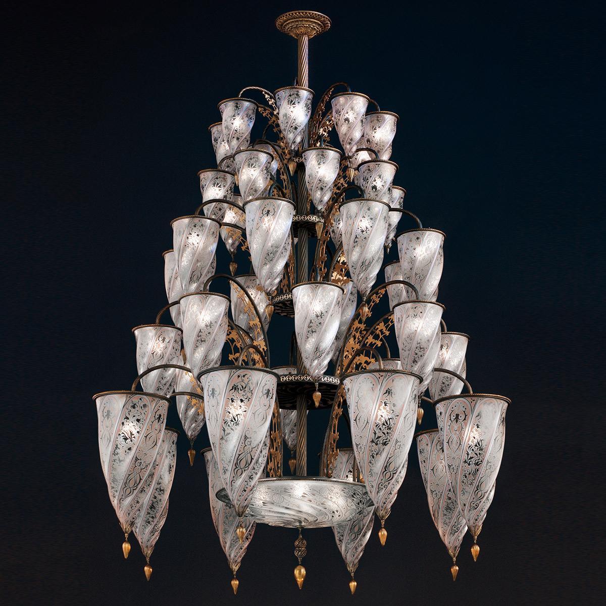 """""""Beirut"""" lustre en cristal de Murano - 41 lumières - neutre"""