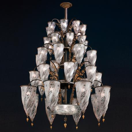 """Beirut"" Murano glass chandelier - 41 lights - neutral"