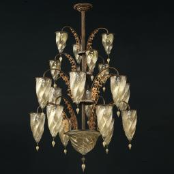 """Alessandria"" Murano glass chandelier - 19 lights - gold"