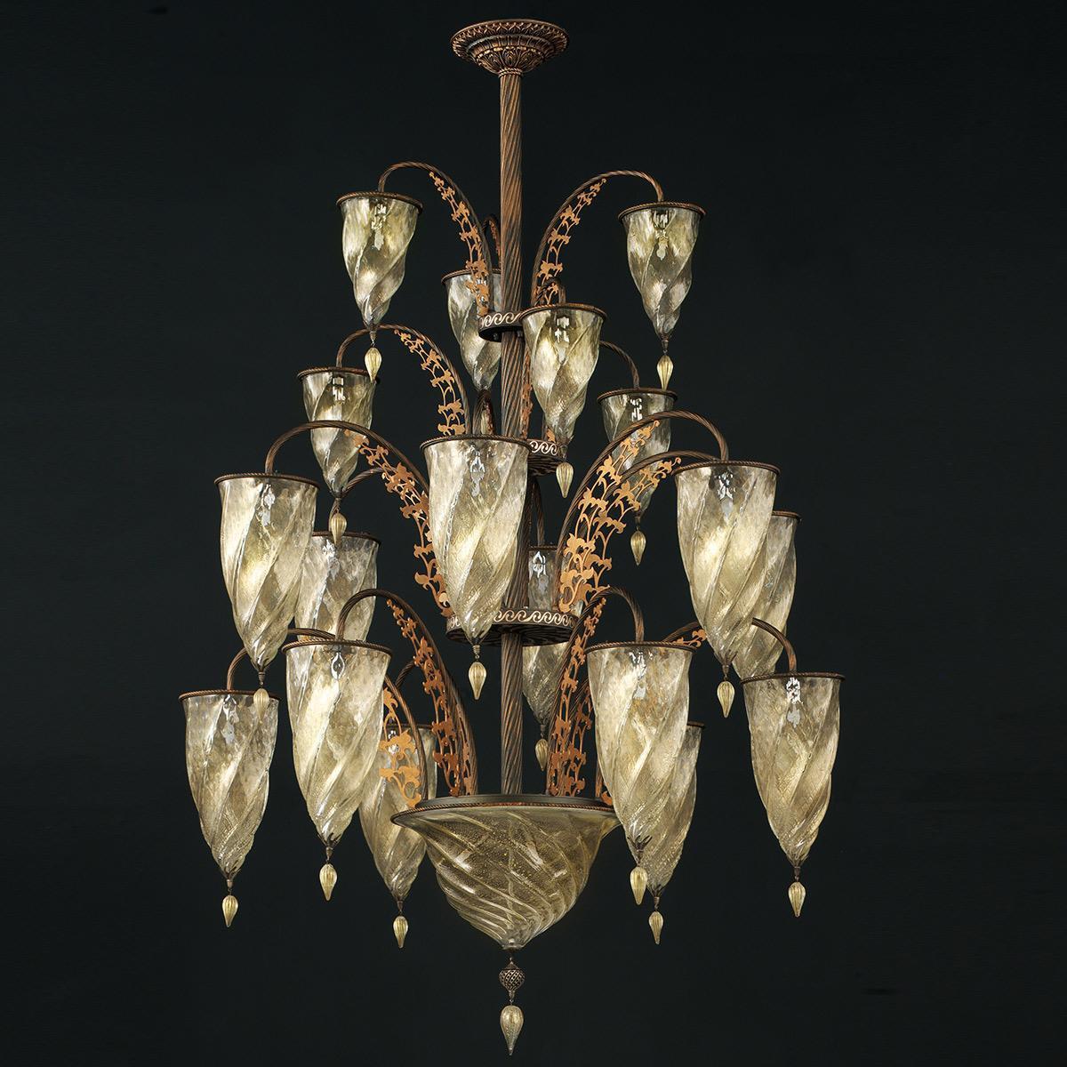 """""""Alessandria"""" lustre en cristal de Murano - 19 lumières - or"""
