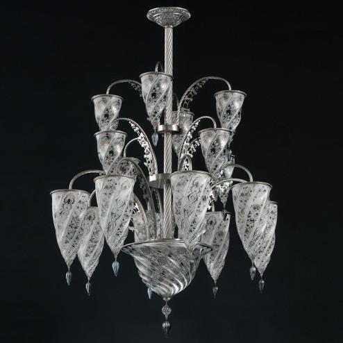 """""""Luxor"""" lustre en cristal de Murano - 17 lumières - blanc"""