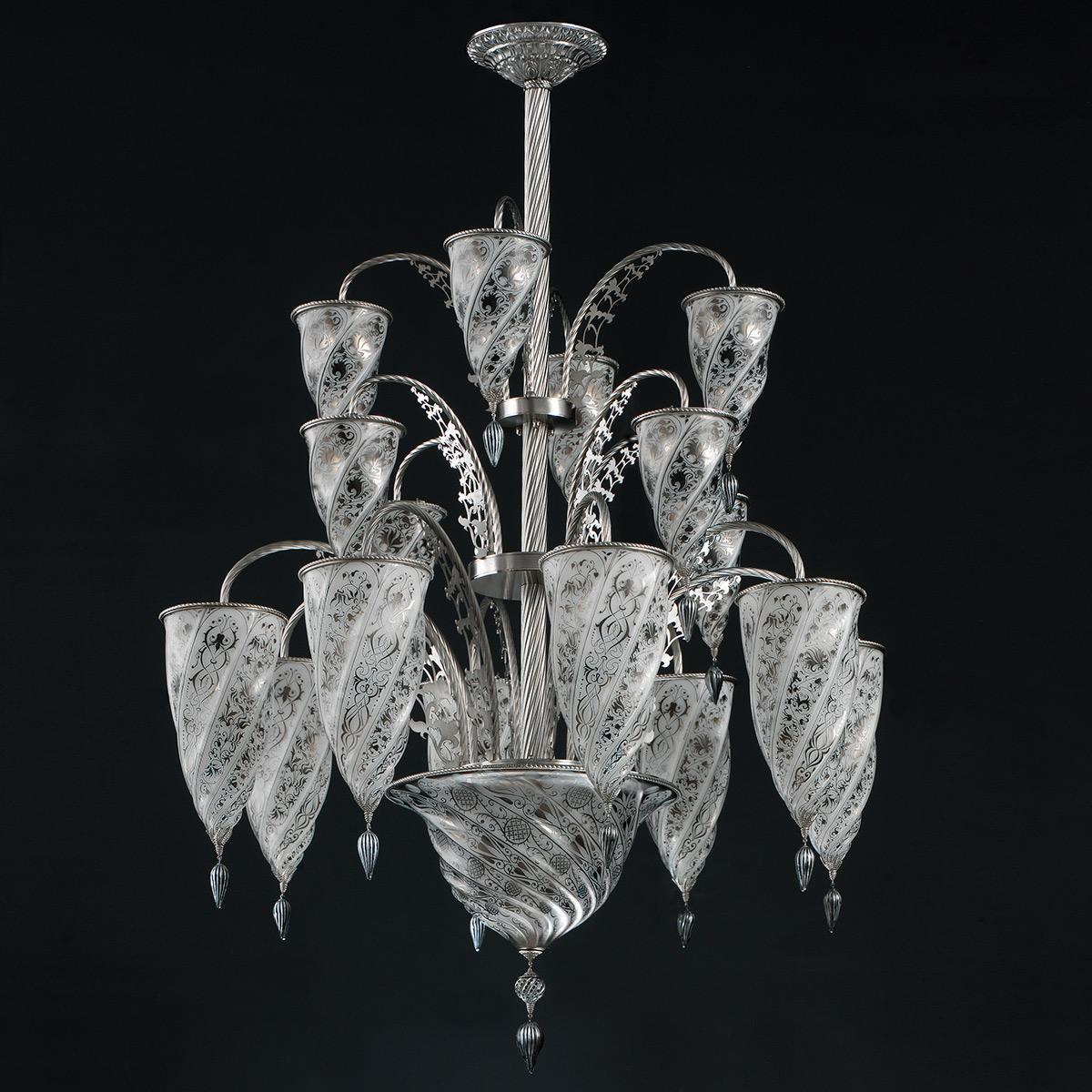 """""""Luxor"""" Murano glas Kronleuchter - 17 flammig - weiß"""