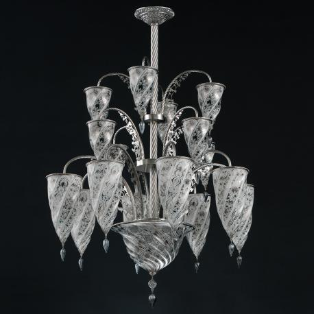 """Luxor"" Murano glass chandelier - 17 lights - white"