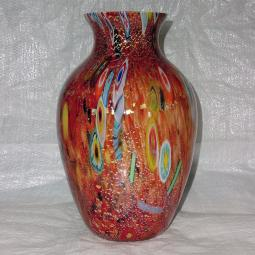 """Pablito"" Murano glass vase - Grand  - rouge et polychrome"