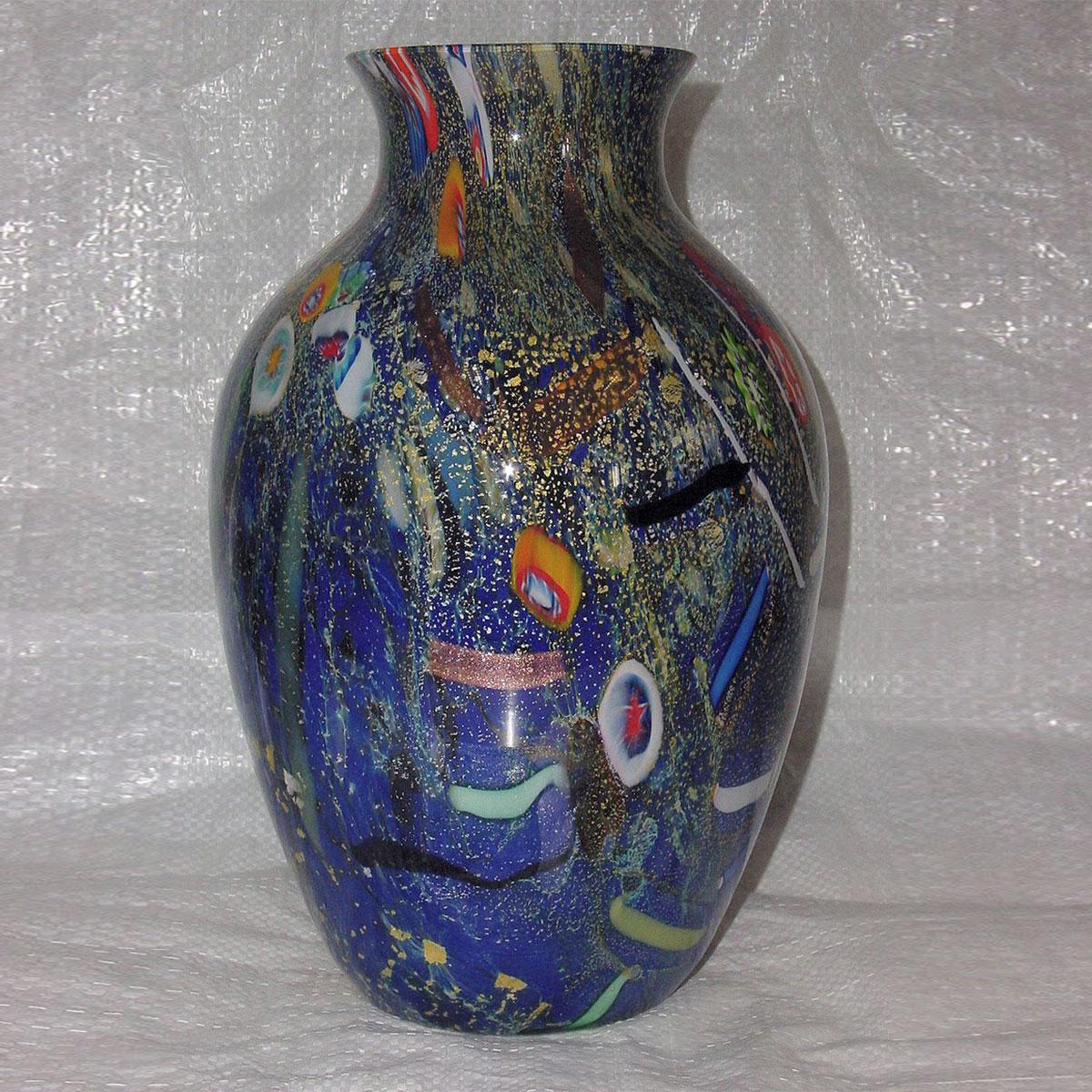 """""""Pablito"""" jarrón de Murano - Grande - azul y policromo"""